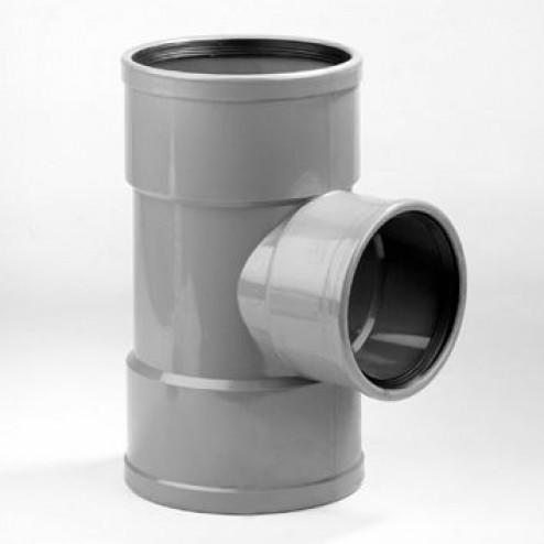 Dyka T-stuk 3x mof 90° manchetverbinding klasse 41 PVC grijs keurmerk BRL52100/BRL52200 160 x 125mm