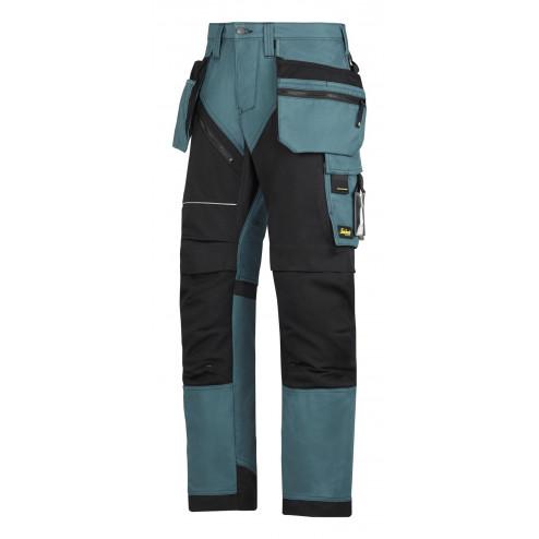 Snickers RuffWork broek met holsterzak petrol zwart maat XXL taille 56 W40