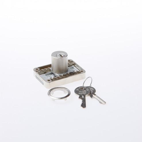 JuNie Opleg Meubelslot met cilinder vernikkeld Doornmaat 15-40mm 2828 verschillend sluitend