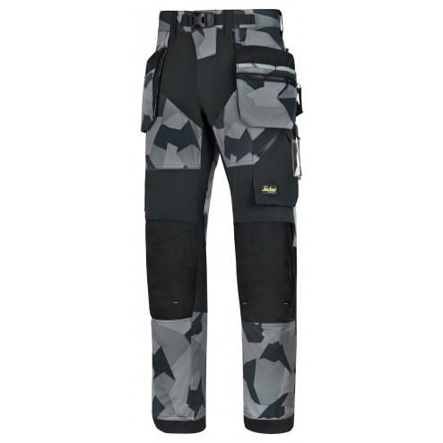 Snickers FlexiWork broek met holsterzak grijs camo zwart maat XXXL taille 58 W42