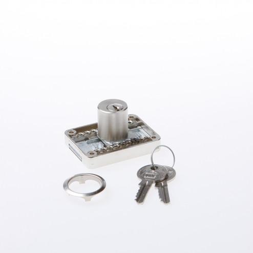 JuNie Meubelslot met drukcilinder vernikkeld sleutelnummer KA2001 Doornmaat 15-40mm 2828