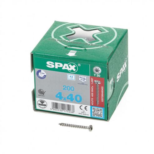 Spax Spaanplaatschroef cilinderkop RVS T-Star T20 4.0x40mm (per 200 stuks)