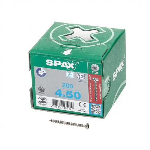 Spax Spaanplaatschroef cilinderkop RVS T-Star T20 4.0x50mm (per 200 stuks)