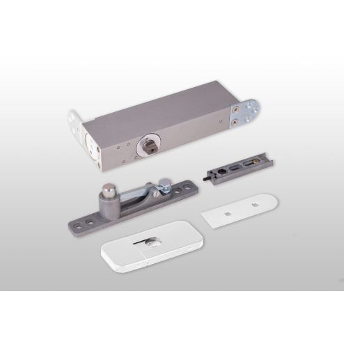ODB-100W Taatsdeurscharnier wit voor pivoterende deuren van max.100kg - witte afdekplaten