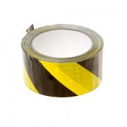 PVC Waarschuwingstape zwart-geel 50mm x 66 meter