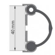 Alprokon Deurnaaldprofiel binnen/binnen aluminium Pendeldeur type 4030 L= 2500mm