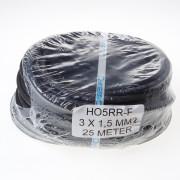 Kabel neopreen zwart 3 x 1.5mm² x 25 meter