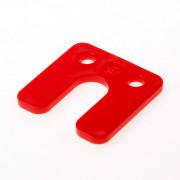 GB Drukplaat met sleuf rood kunststof 70 x 70 x 5mm 34745