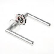 Deurkruk aluminium kleur F1, L-model met afgeronde hoek, met zelfplakkende Easy Click montage
