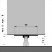 Ellen Dorpelstrip onzichtbaar aluminium dbs 300 cm