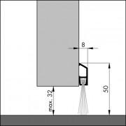 Ellen Dorpelstrip met borstel aluminium ibs 300cm